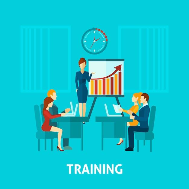 Zakelijke training platte pictogram Gratis Vector