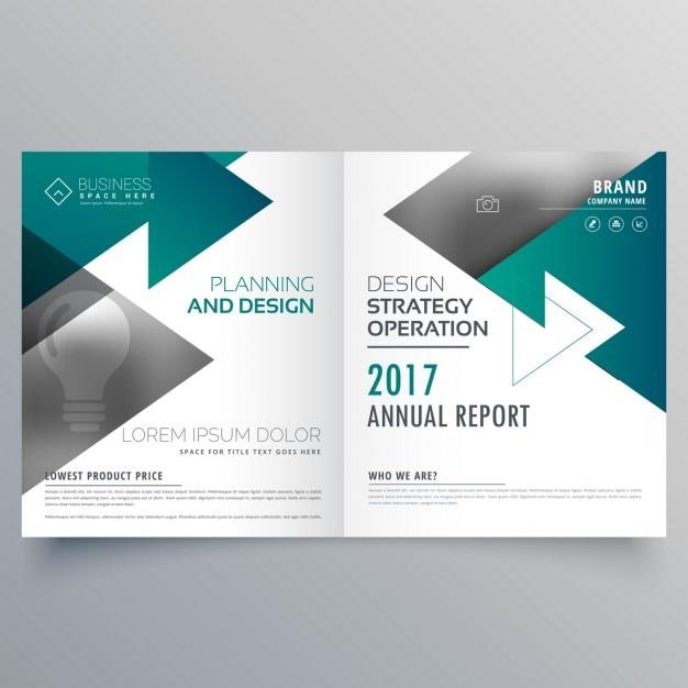 Zakelijke tweevoudig brochure ontwerp gemaakt met driehoek blauwe vormen Gratis Vector