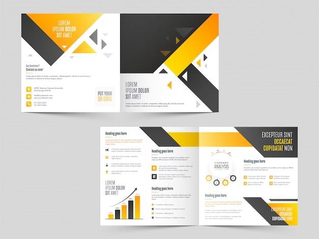 Zakelijke tweevoudige brochure, sjabloon of omslagontwerp in voor- en achteraanzicht. Premium Vector