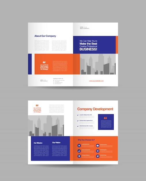 Zakelijke tweevoudige brochure Premium Vector