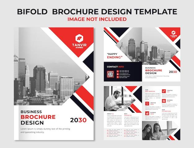 Zakelijke tweevoudige brochureontwerp Premium Vector