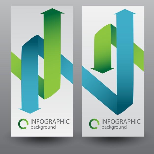 Zakelijke verticale banners met groene en blauwe gebogen lintpijlen Gratis Vector