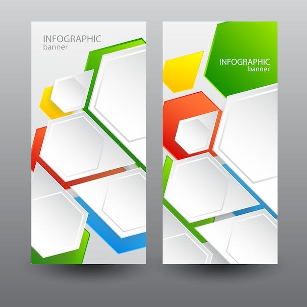 Zakelijke verticale banners met lichte webzeshoeken Gratis Vector