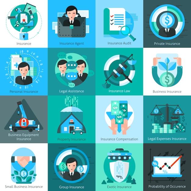 Zakelijke verzekering icons set Gratis Vector