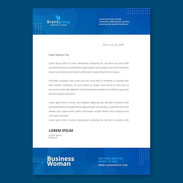 Zakelijke vrouw briefpapier sjabloon Gratis Vector