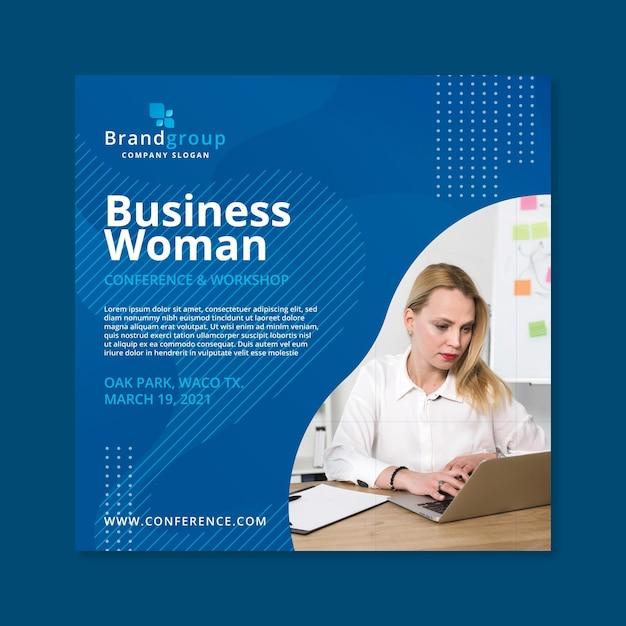 Zakelijke vrouw folder sjabloon Premium Vector