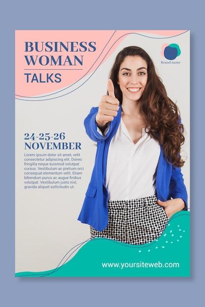 Zakelijke vrouw poster sjabloon Gratis Vector