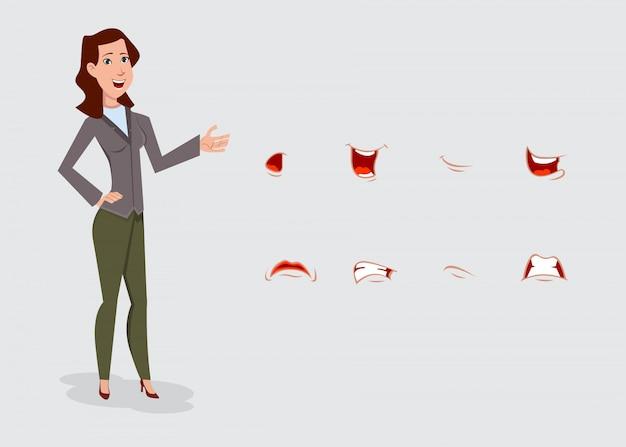 Zakelijke vrouw stripfiguur set met verschillende gezichtsemoties. Premium Vector