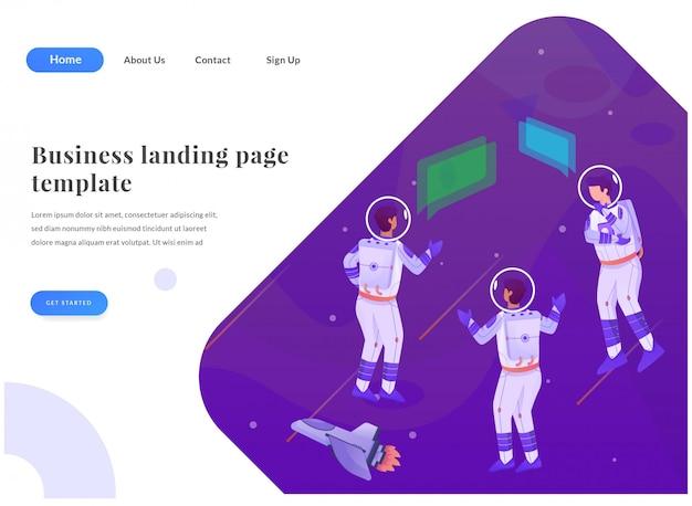 Zakelijke web-bestemmingspagina astronaut Premium Vector
