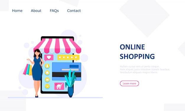 Zakelijke websjabloon met online winkel Premium Vector