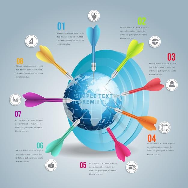 Zakelijke wereld doelmarkt infographic met kleuren dart. Premium Vector