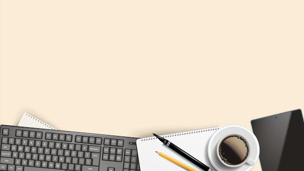 Zakelijke werkplek achtergrond Premium Vector