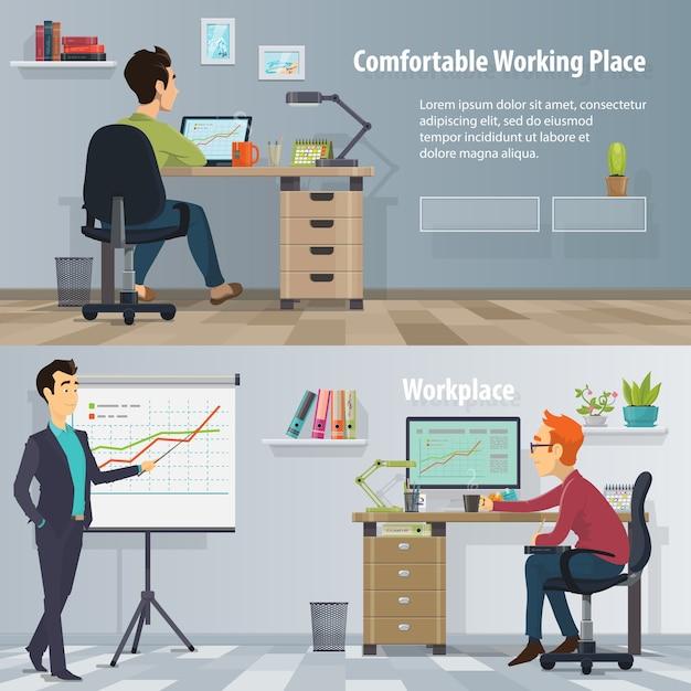 Zakelijke werkplek horizontale banners met drukke mensen in moderne, comfortabele kantoren Gratis Vector