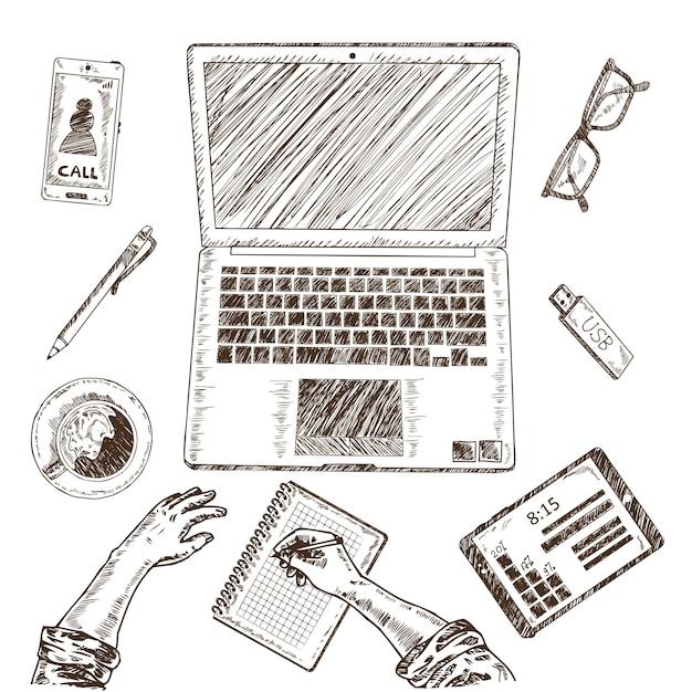 Zakelijke werkplek schets concept Gratis Vector