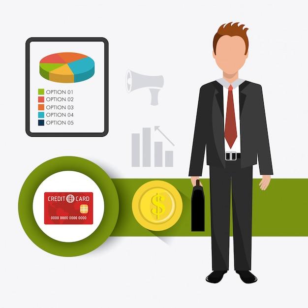 Zaken, geld en menselijke hulpbronnen Gratis Vector