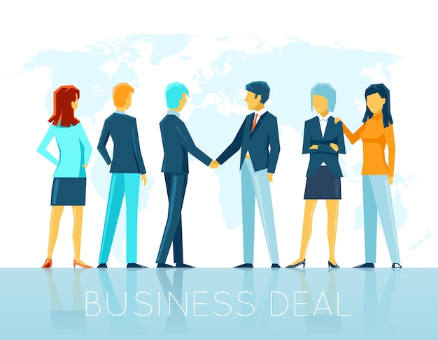 Zakendeal. teamwerkovereenkomst, partnerschapsmensen, handdruk en samenwerking. vector illustratie Gratis Vector