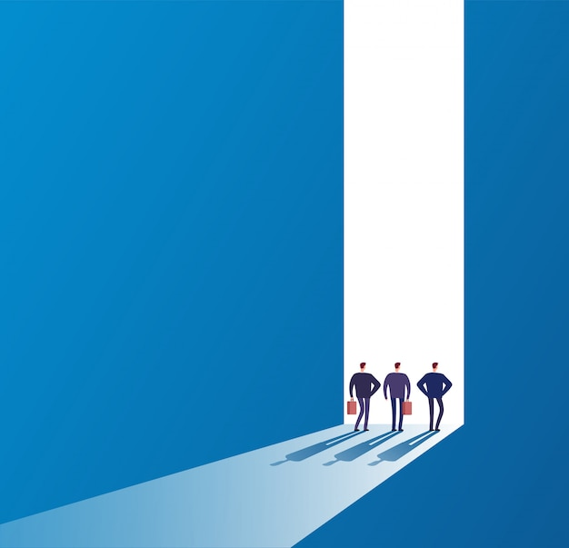 Zakenlieden bij open deur. toekomstig pad, nieuwe reis en succesvolle ideeën. bedrijfs onbekend kansen vectorconcept Premium Vector
