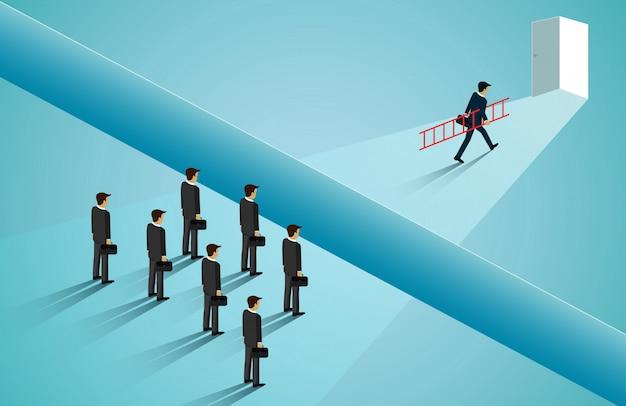 Zakenlieden concurreren gaan naar de deur met obstakel, kliffen blokkeren het pad Premium Vector