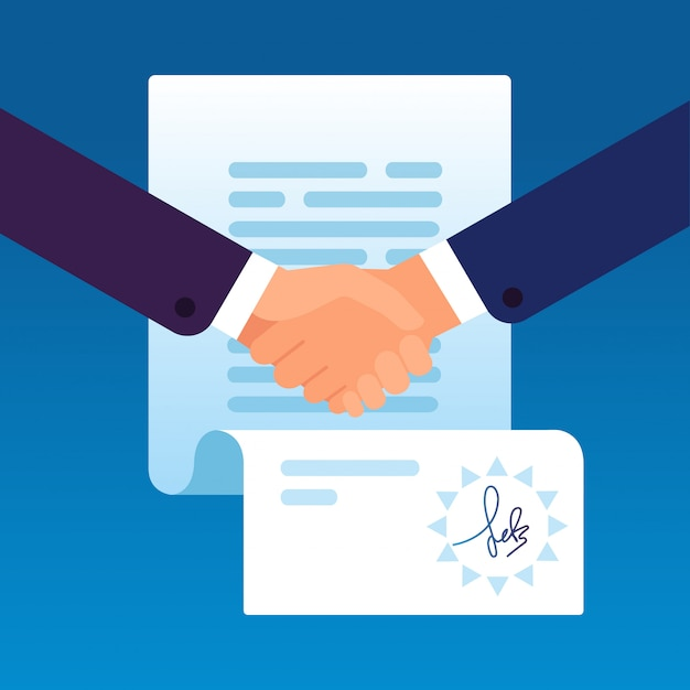 Zakenlieden die handen schudden om contract te ondertekenen. Premium Vector