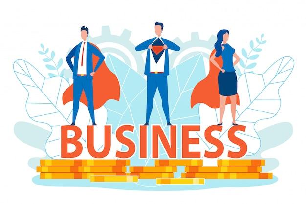 Zakenlieden en -vrouw in superhelden-kostuums. Premium Vector
