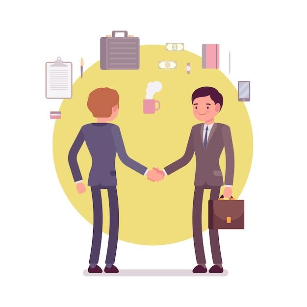 Zakenlieden groet handshaking Premium Vector