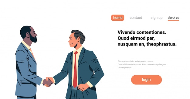 Zakenlieden handdruk overeenkomst banner Premium Vector