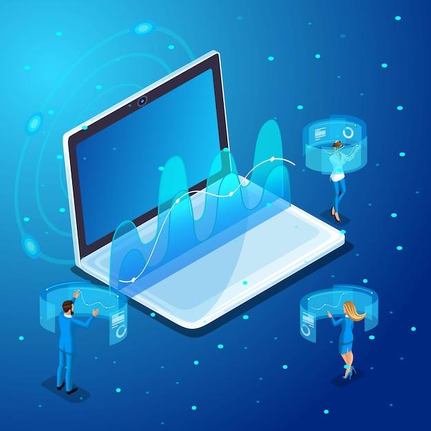 Zakenlieden met gadgets, werken aan virtuele schermen, online beheer, afbeeldingen, rapporten. karakteremoties voor illustraties Premium Vector