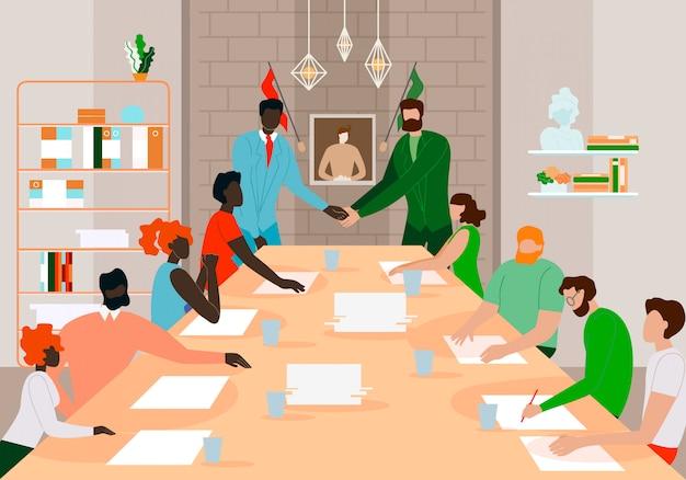 Zakenlieden teamleiders ontmoeten elkaar voor een succesvolle deal. Premium Vector