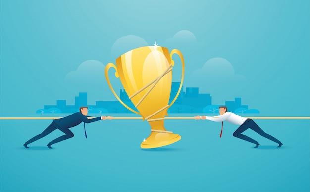 Zakenlieden trekken het touw met trofee Premium Vector