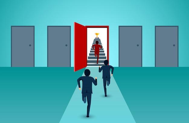 Zakenlieden zijn concurrentie rennen de trap naar de deur kleur rood ga naar succes doel Premium Vector