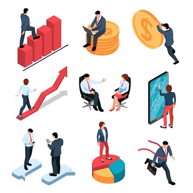 Zakenlui isometrische die pictogrammen met mannelijke en vrouwelijke personen en geld en bedrijfssymbolen worden geplaatst Gratis Vector