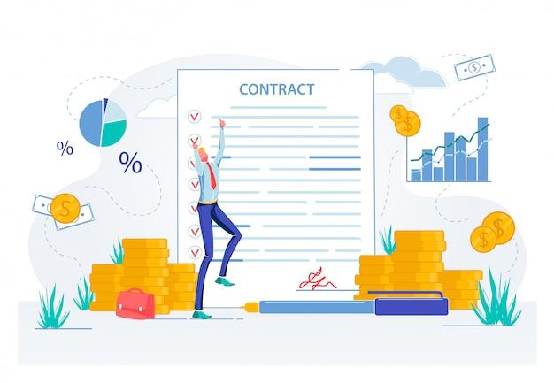 Zakenman blij met contractdocumenten ondertekenen. Premium Vector