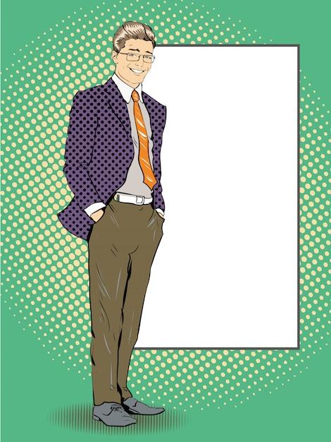 Zakenman blijft naast leeg wit bord. popart strips retro stijl illustratie. Premium Vector
