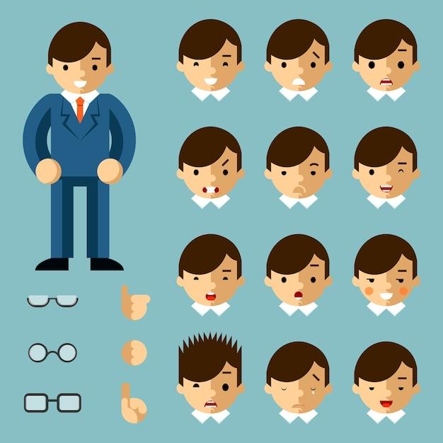 Zakenman cartoon emoties. gelukkig mens, mensenbureau, managersucces, vectorillustratie Gratis Vector