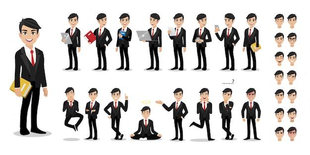 Zakenman cartoon tekenset. knappe bedrijfsmens in het slimme kostuum van de bureaustijl. Premium Vector