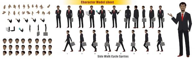 Zakenman character modelblad met het blad van sprites van de cyclus van de loopcyclus Premium Vector