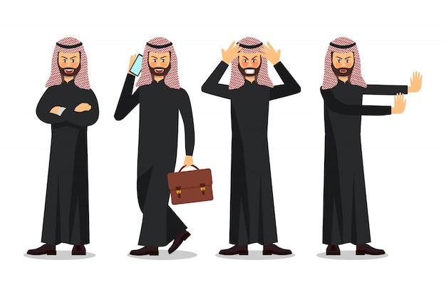 Zakenman characterdesign, moslimzakenman Premium Vector