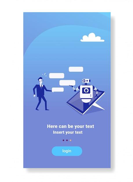 Zakenman chatten met chatbot moderne robot mobiele apparaat applicatie tech support concept Premium Vector