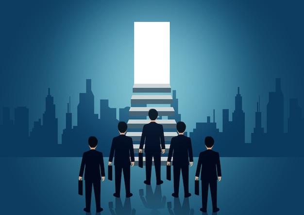 Zakenman concurrentie op de trap naar de deur Premium Vector