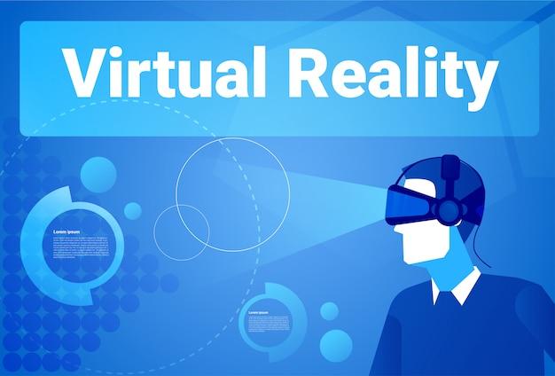 Zakenman die 3d virtuele de werkelijkheidsachtergrond van glazen dragen met de mens van exemplaar ruimtemens in het concept van vrbeschermende brillen Premium Vector