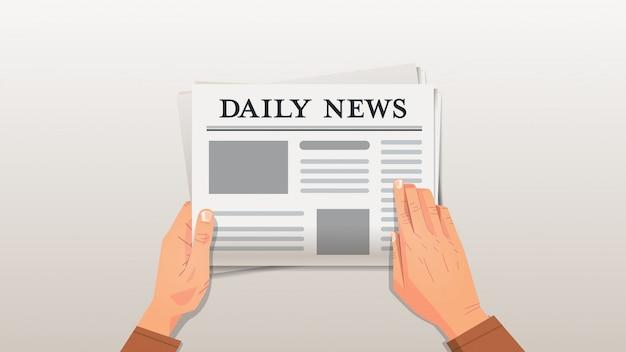 Zakenman die dagelijks nieuws menselijke handen leest die het concept van de krantenpersmassamedia houden Premium Vector