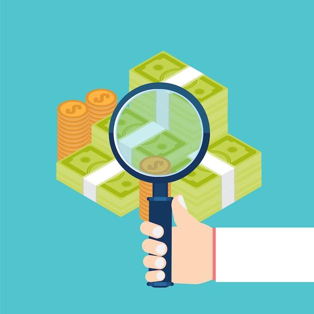 Zakenman die economische statistiek, webanalyses onderzoekt Premium Vector
