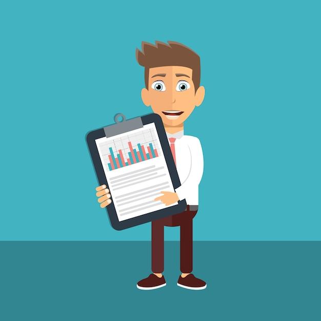 Zakenman die financiële statistieken analyseren Premium Vector