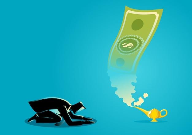 Zakenman die geld aanbidden dat van magische lamp verschijnt Premium Vector