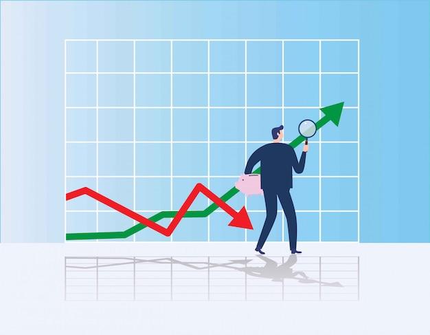 Zakenman die investeringskans zoekt die zich op de groeigrafiek bevindt Premium Vector