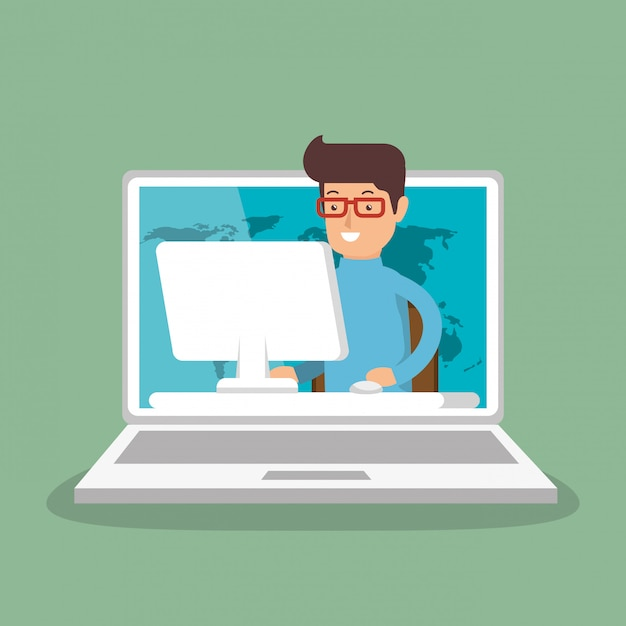 Zakenman die met laptop werkt Gratis Vector