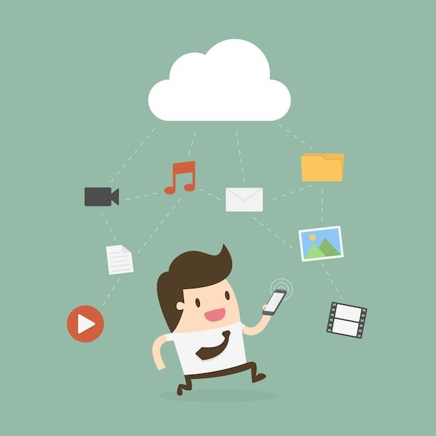 Zakenman die mobiele telefoon met wolk en media pictogram met behulp van. Premium Vector