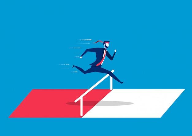 Zakenman die over hindernissen of hindernissen springt. symbool van vastberadenheid, ambitie, ambitie, motivatie en succes Premium Vector