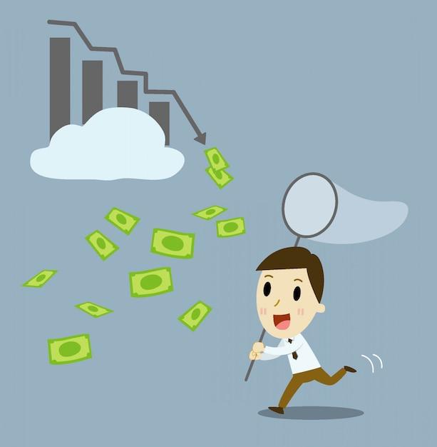 Zakenman die winstgevende aandelen koopt. vector cartoon illustratie Premium Vector