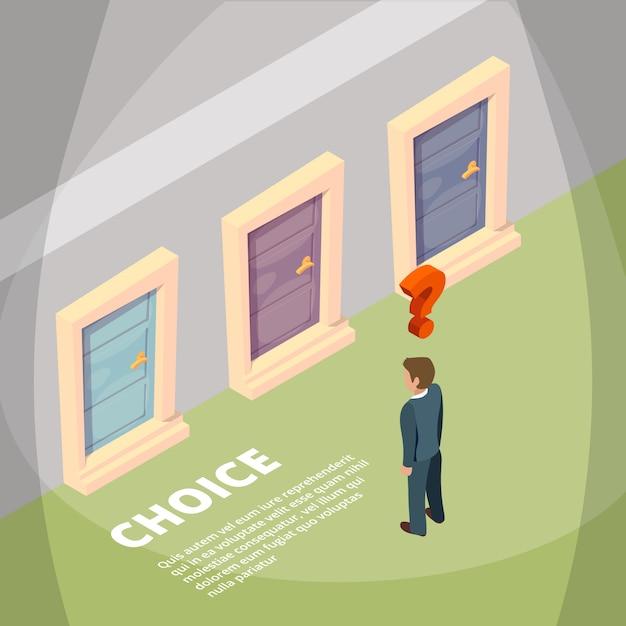 Zakenman die zich voor drie gesloten deuren bevindt en heeft een keus Premium Vector